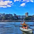 Kayaking down Brisbane River
