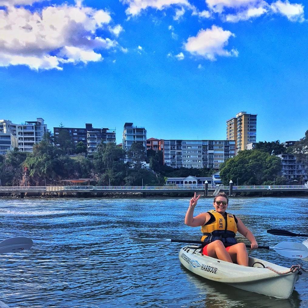 Kayaking down Brisbane River