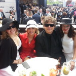Derby Day 2014 at Bar Schweppes in the Birdcage. Sarah Maree, Taryn Delaney, Nova 100 breakfast anchor Dean Thomas & fashion blogger Nikki Pash from States Of Style