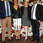 Nova 100's media wall at Caulfield Cup with Andrew Lahey, Nova 100 drive News Presenter Sophia Lazarides, Sarah Maree Cameron & Rav Kumar