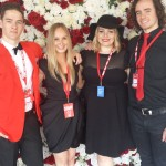 Nova 100's media wall at Caulfield Cup with producer and presenter Jack Charles, Nova online content producer Alexis Sherman and Casanova Dylan Warren