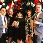 Nova 100's Media Wall at at Caulfield Cup with the Herald Sun's Marketing Manager Tom Winch, Sarah Lucy, Nova 100 publicist Jane Elliott and smoothfm morning presenter Ty Frost
