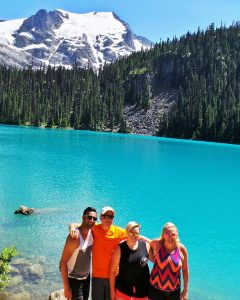 (L-R) Husbane Rav, Brother Pete, myself, Sister Jeanette - hiking Joffre Lakes in British Columbia, Canada, July 2017